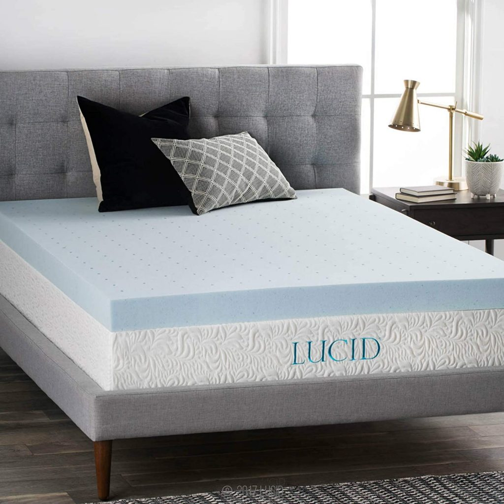 LUCID 4 Inch Gel Memory Foam Mattress Topper-Ventilated Design-Ultra Plush-Twin XL