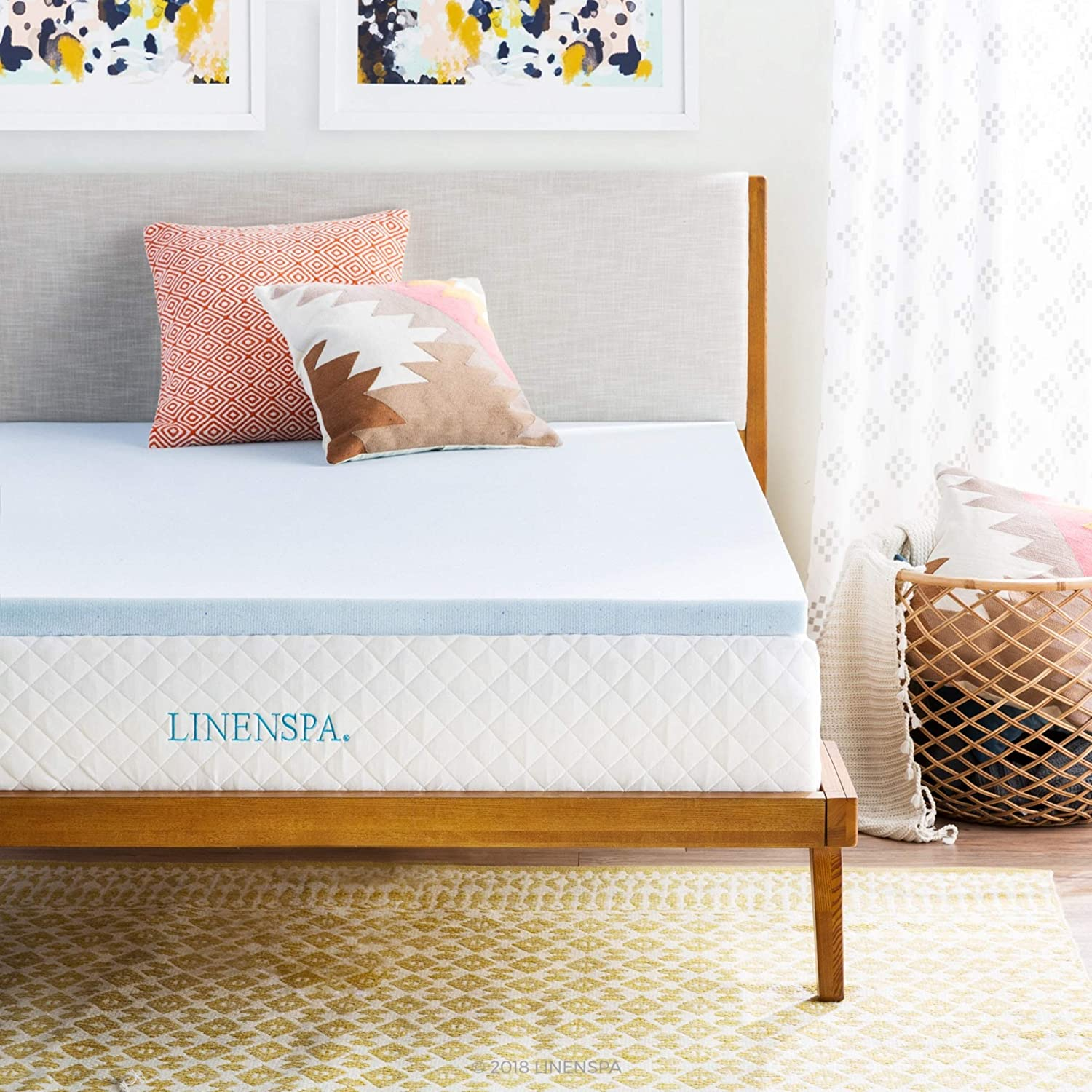 "Linenspa 2"" Gel Infused Memory Foam Mattress Topper, Twin XL"